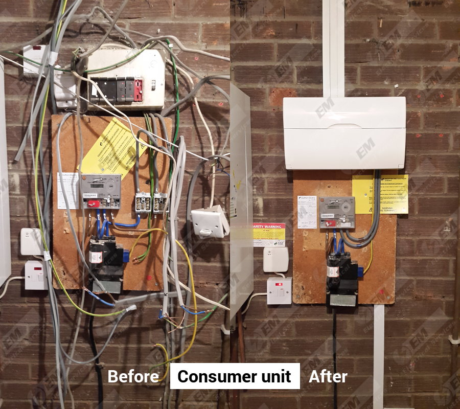 Consumer unit before and after